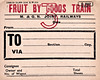 M&GN WAGON LABEL - FRUIT BY GOODS TRAIN - The soft fruit traffic was a major part of the M&GN's freight, particularly from the Long Sutton area. The most perishable fruits were sent by passenger train but these are consigned to a Class 3 Goods so presumably are bit longer lasting - print date March 1938 by which time the M&GN had ceased to exist.
