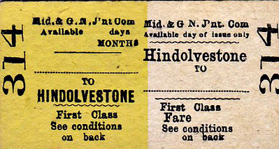 M&GN TICKET - HINDOLVESTONE - First Class Return Blank - these bi-colour tickets are of an older type.