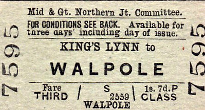 M&GN TICKET - KINGS LYNN -  Third Class Single to Walpole, fare 1s 7d- although Kings Lynn was a GER, later LNER, station, the M&GN had running powers from South Lynn and would there fore issue its own tickets to destinations on its own system. In later years, few M&GN trains ran to Kings Lynn, there being a frequent shuttle train operated between South Lynn and Kings Lynn.