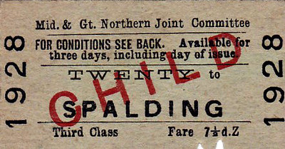 M&GN TICKET - TWENTY - Third Class Child Single to Spalding - fare 7 1/2d - clipped.