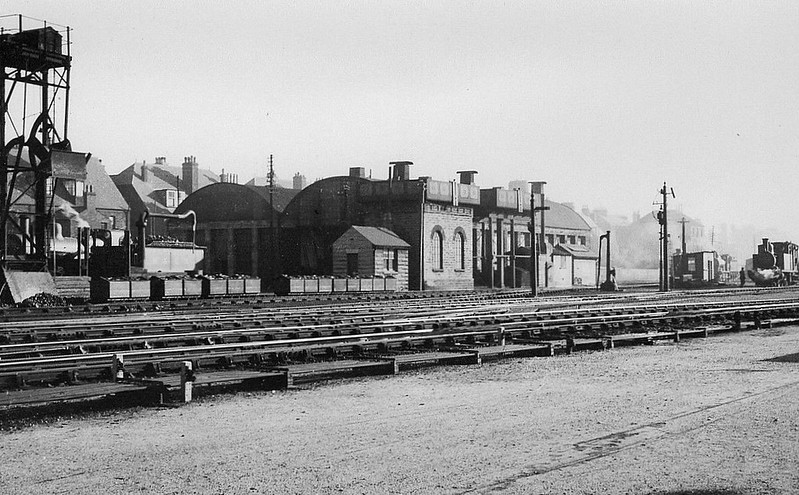 YARMOUTH BEACH LOCOSHED (32F) - Opened in 1875 by the Great Yarmouth & Stalham Light Railway, Yarmouth Beach was coded 32F by BR. It closed along with the remainder of the system in February 1959. It consisted of two small sheds, each of two-roads, with a large coaling and watering point behind. Seen here in 1936, note the J93 to the right.