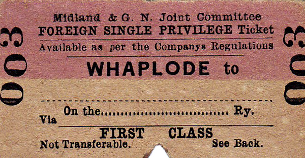 M&GN TICKET - WHAPLODE - First Class Foreign Privilege Single to Blank Destination. Note the line for specifying the Railway Company to be used once off M&GN territory. An older style of ticket and little used I suspect!