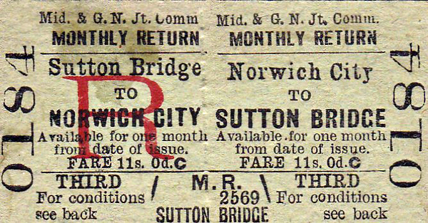 M&GN TICKET - NORWICH CITY - Third Class Monthly Return to Sutton Bridge - fare 11s 0d. This is a journey of about 60 miles by rail and would probably have taken about 2 and a half hours by M&GN!