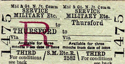 M&GN TICKET - THURSFORD - Third Class Military Service Return - special rate for servicemen.