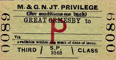 M&GN TICKET - GREAT ORMESBY - Third Class Privilege Single - issued to the families and dependents of company servants.