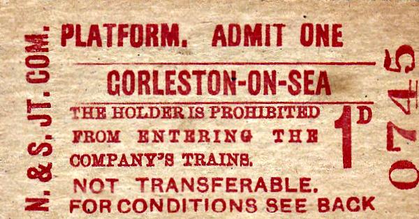 NORFOLK & SUFFOLK JOINT COMMITTEE TICKET - GORLESTON-ON-SEA - Platform Ticket, price 1d.