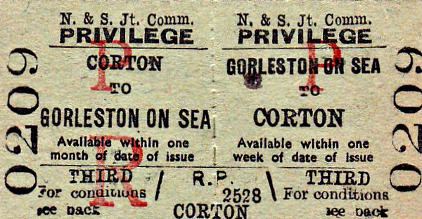 NORFOLK & SUFFOLK JOINT COMMITTEE TICKET - GORLESTON-ON-SEA - Third Class Privilege Return to Corton - dated July 1st, 1964. Third class had disappeared from British Railways in 1956!
