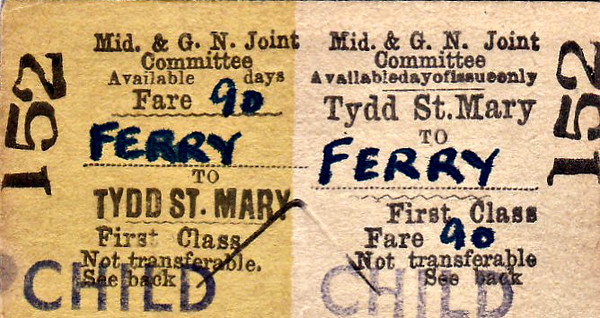 M&GN TICKET - TYDD ST. MARY - First Class Child Return to Ferry - fare 9d - dated August 25th, 1958. Another souvenir, I'm sure.