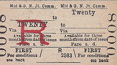 M&GN TICKET - TWENTY - First Class Three Monthly Return - I'm highly suspicious of these tickets, this one being No.0008. I don't think they ever sold any of them. Although I can well appreciate why someone would want to get away from Twenty for 3 months!