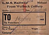 LMSR WAGON LABEL - Wagon No.171781 has been sent from Welbeck Colliery in Nottinghamshire via Peterborough to Honing on the M&GNR loaded with Best Hards (Coal) on June 21st, 1941, consigned to Cubitt & Walker Ltd, arriving presumably on June 25th. Cubitt & Walker were millers and corn merchants in Honing.