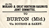 M&GN LUGGAGE/PARCEL LABEL - BURTON (MIDLAND), via Bourne & Saxby - that would be Burton on Trent.