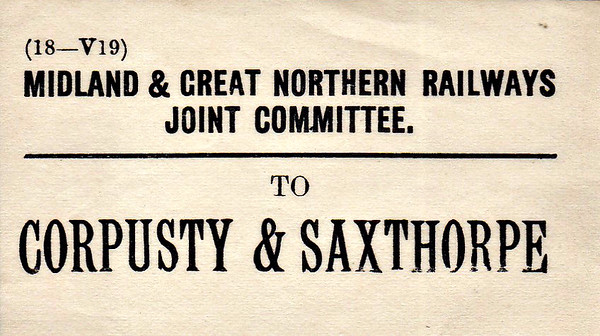 M&GN LUGGAGE/PARCEL LABEL - CORPUSTY & SAXTHORPE - The first stop east of Melton Constable on the Yarmouth line.