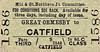M&GN TICKET - GREAT ORMESBY - Third Class Single to Catfield - fare 1s 8d.