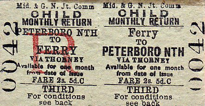 M&GN TICKET - FERRY - Third Child Monthly Return to Peterborough North, via Thorney - fare 2s 5d - the alternative via Sutton Bridge and Spalding would have been a real expedition!