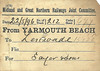 M&GN WAGON LABEL - YARMOUTH BEACH to LENWADE - On May 22nd, 1896, Wagon No.212 was despatched from Yarmouth Beach to Lenwade consigned to Sayer & Sons.