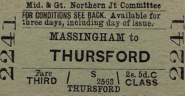 M&GN TICKET - MASSINGHAM - Third Class Single to Thursford - fare 2s 5d.