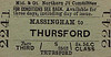M&GN TICKET - MASSINGHAM - Third Class Single to Thursford - fare 2s 5d.