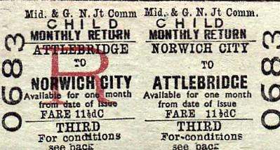 M&GN TICKET - NORWICH CITY - Third Class Child Monthly Return to Attlebridge, fare 11 1/2d.