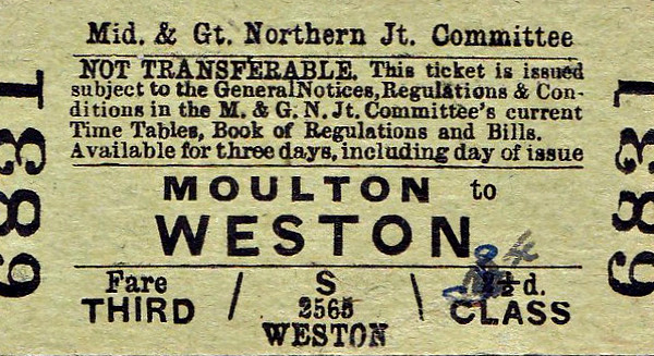 M&GN TICKET - MOULTON - Third Class Single to Weston - fare 4d - dated September 1st, 1958. This is a journey of about 1 mile, obtained as a souvenir surely. There was obviously some discussion over the fare as it has been printed at 2 1/2d, probably about 30 years previously, changed to 3d and then again to 4d.
