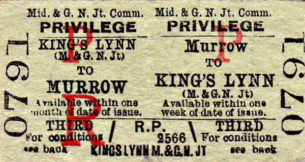 M&GN TICKET - MURROW - Third Class Privilege Return to Kings Lynn (M&GN). The M&GN had it's own booking facilities at the GER station.