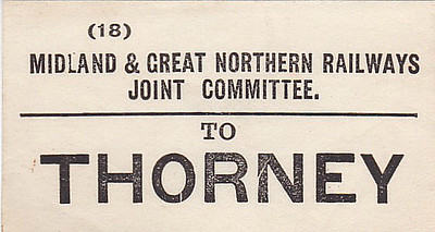 M&GN LUGGAGE/PARCEL LABEL - THORNEY - on the Peterborough - Sutton Bridge line. Thorney was fairly unique among M&GN rural stations in that it was actually situated in the village it purported to serve!