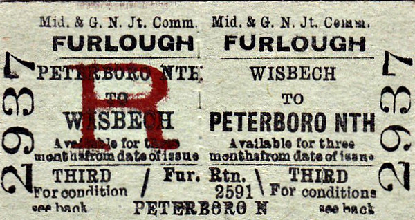 M&GN TICKET - WISBECH - Third Class Furlough Return to Peterborough North.