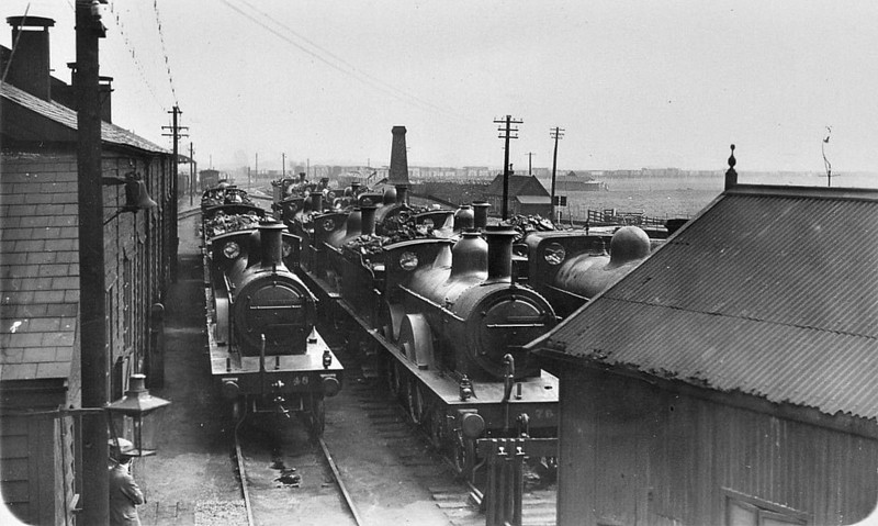SOUTH LYNN LOCO DEPOT - Seen here looking from the back of the shed with Class C 4-4-0's No.76 and 48 in shot, probably in the 1920's.