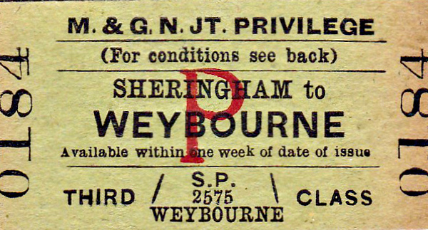 M&GN TICKET - SHERINGHAM - Third Class Privilege Single to Weybourne - dated May 9th, 1959. Of course, this section of the M&GN was still open, not closing to passengers until April 1964.