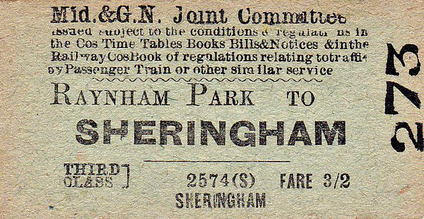 M&GN TICKET - RAYNHAM PARK - Third Class Single to Sheringham - fare 3s 2d. This  journey would have required a change at Melton Constable.