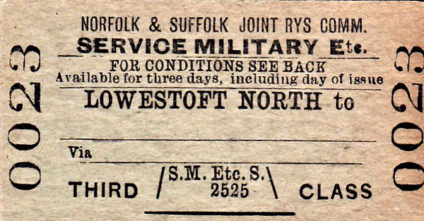 NORFOLK & SUFFOLK JOINT COMMITTEE TICKET - LOWESTOFT NORTH - Third Class Military Service Single to Blank Destination.