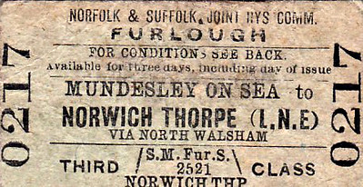 M&GN TICKET - NORFOLK & SUFFOLK JOINT COMMITTEE - MUNDESLEY-ON-SEA - Third Class Furlough Single to Norwich Thorpe, via North Walsham - issued on January 12th, 1942, by which time both railways had ceased to exist for 6 years!
