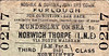 NORFOLK & SUFFOLK JOINT COMMITTEE TICKET - MUNDESLEY-ON-SEA - Third Class Furlough Single to Norwich Thorpe, via North Walsham - issued on January 12th, 1942, by which time both railways had ceased to exist for 6 years!