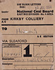 BRITISH RAILWAYS WAGON LABEL - KIRKBY COLLIERY to HONING - Mineral wagon No.344645, loaded with Screened Large (Group 6) coal, was despatched on July 12th, 1954, from NCB Kirkby Colliery, Sutton-in-Ashfield, to Honing, via Sleaford, consigned to Cubitt & Walker, millers and grain merchants.