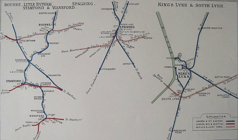 A map of M&GN junctions on the western end of the system in the 1930's. Looking at Spalding today, it's hard to believe what a large railway centre it was just a few years ago. Kings Lynn is a real mare's nest! There must have been more levels crossings there than in the whole of the rest of Norfolk!