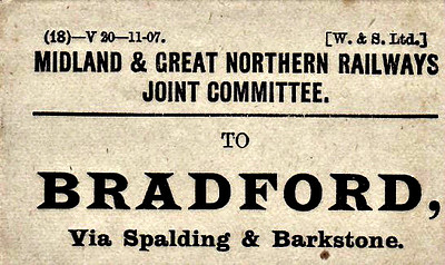 M&GN LUGGAGE/PARCEL LABEL - BRADFORD - via Spalding and Barkstone - print date 11/07 - the routing is quite precise. There must have been any number of different ways of getting a parcel to Bradford.