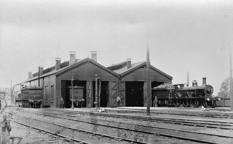 SOUTH LYNN LOCO DEPOT - Seen here looking from the front in the 1910's with, from the left, locos Nos.80, 89 and 83 on view.