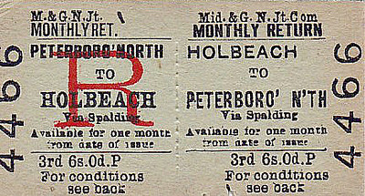 M&GN TICKET - HOLBEACH - Third Class Monthly Return to Peterborough North, via Spalding. 6s 0d seems quite expensive to me but them I guess Monthly Returns were probably premium rate tickets.