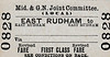 M&GN TICKET - EAST RUDHAM - Revised Fare First Class Single - I'm not quite sure what that means or the (LOCAL) either.