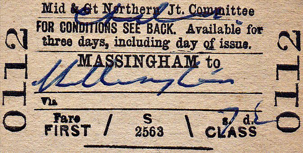 M&GN TICKET - MASSINGHAM - First Class Child Single to Hillington, fare 7d - dated August 26th, 1958.