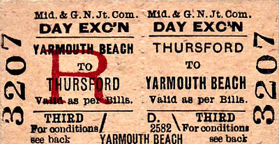 M&GN TICKET - THURSFORD - Third Class Day Excursion to Yarmouth Beach.