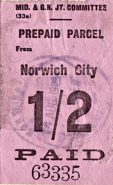 M&GN PARCELS WAYBILL (2) - NORWICH CITY to MELTON CONSTABLE - The prepaid parcels stamp on the rear of the waybill.