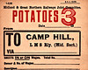 M&GN WAGON LABEL - POTATOES - Potatoes to Camp Hill Station in Birmingham, evidently a regular consignment as the label is pre-printed - print date 02/32.