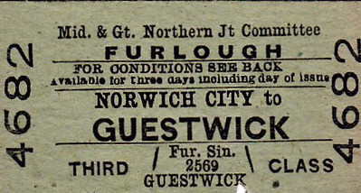 M&GN TICKET - NORWICH CITY - Third Class Furlough Single to Guestwick - note that this ticket has been clipped just below the 'K' in Guestwick.