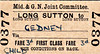 M&GN TICKET - LONG SUTTON - First Class Child Single to Gedney - fare 3d - dated November 9th, 1957. This is a journey of about 1.5 miles.