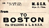 M&GN LUGGAGE/PARCEL LABEL - BOSTON - Via Spalding & LNER - print date March 1934.