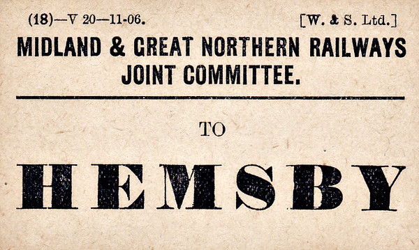 M&GN LUGGAGE/PARCEL LABEL - HEMSBY - print date November 1906.
