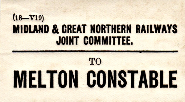 M&GN LUGGAGE/PARCEL LABEL - MELTON CONSTABLE - the 'Crewe' of East Anglia!