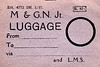 M&GN LUGGAGE/PARCEL LABEL - Label for items travelling off the system via the LMS - note that although the M&GN was under direct control of LNER from 1936, these labels were printed with M&GN notation in January 1937.