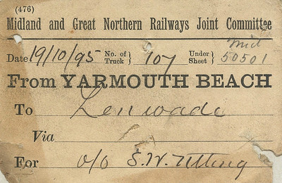 M&GN WAGON LABEL - YARMOUTH BEACH - Dating from only just after the formation of the M&GN, this label is from Wagon No.707 (I think) en route to Lenwade, consigned to a Mr Utting (again, I think).