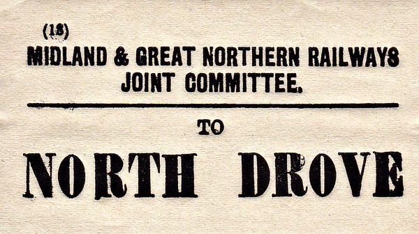 M&GN LUGGAGE/PARCEL LABEL - NORTH DROVE - I can't imagine that many of these were ever used!